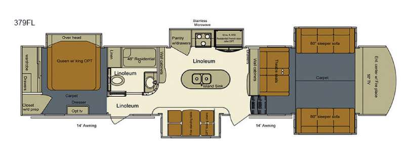 Evergreen RV Bay Hill 379FL Front Living Fifth Wheel Floorplan