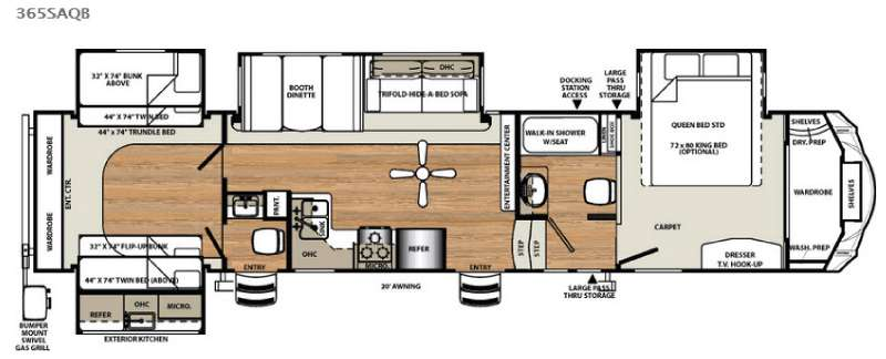 Forest River Sandpiper SAQB Fifth Wheel Floorplan