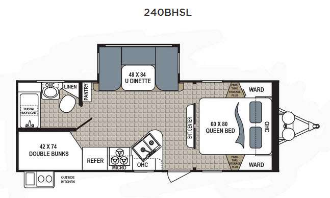 Dutchmen Kodiak 240BHSL Travel Trailer Bunkhouse Floorplan