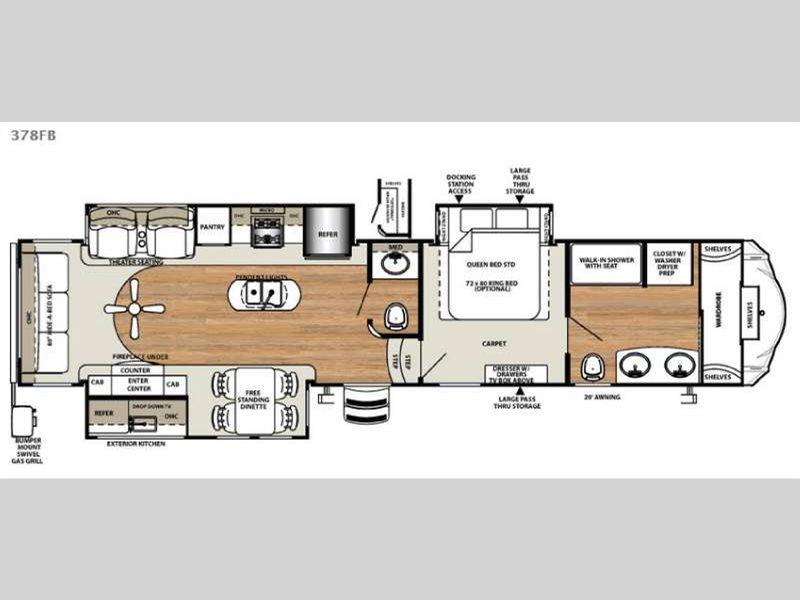 Forest River Sandpiper 378FB Fifth Wheel Floorplan