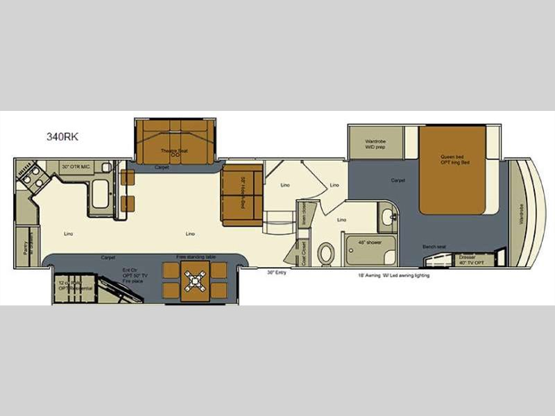 Evergreen RV Bay Hill 340RK Fifth Wheel Floorplan
