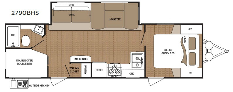 Dutchmen Aspen Trail 2790BHS Travel Trailer Floorplan