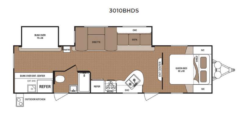Dutchmen Aspen Trail 3010BHDS Travel Trailer Floorplan