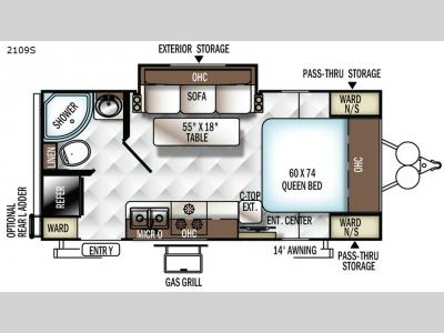 Forest River Rockwood Mini Lite 2109S Travel Trailer Floorplan