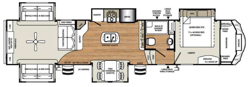 Forest River Sandpiper 389RD Fifth Wheel Floorplan