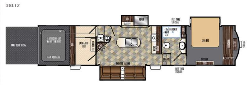 Forest River Vengeance 38L12 Touring Edition Fifth Wheel Toy Hauler Floorplan