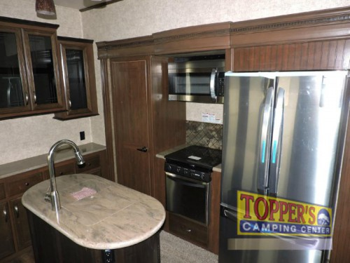 new 2017 Forest River Sandpiper 377FLIK Fifth Wheel Kitchen